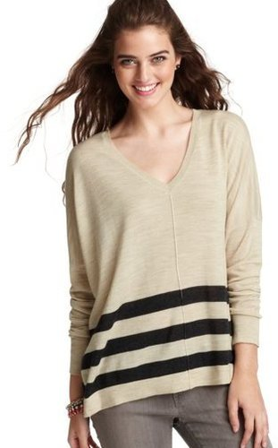 Striped V-Neck Poncho Sweater
