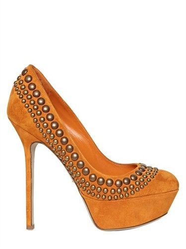 130mm Studded Suede Pumps