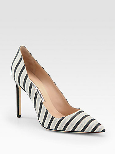 Manolo Blahnik BB Striped Cotton Pumps