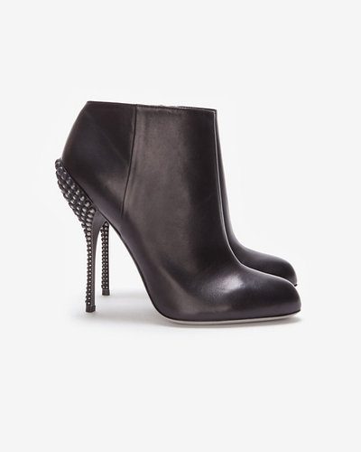 Sergio Rossi Black Leather Studded Bootie