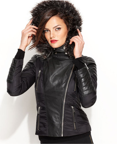 MICHAEL Michael Kors Jacket, Faux-Fur Hood Faux-Leather Motorcycle