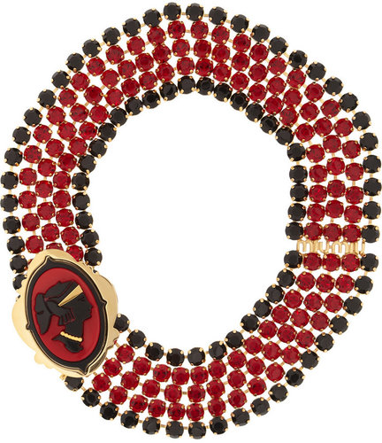 Miu Miu Gold-plated crystal cameo necklace