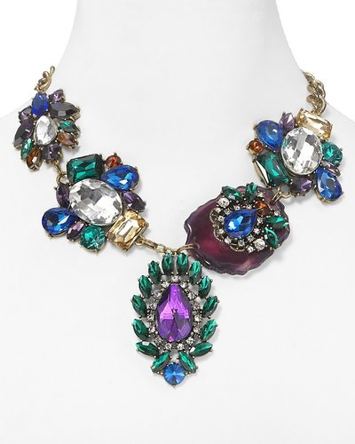 Cara Accessories Jeweled and Agate Statement Necklace, 17""