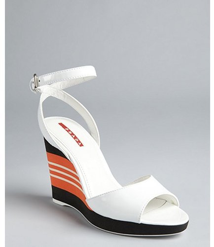 Prada Sport white patent leather striped wedges