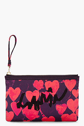 LANVIN Red Heart Zip Clutch
