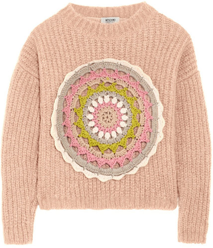 Moschino Cheap and Chic Crochet-embellished mohair-blend sweater