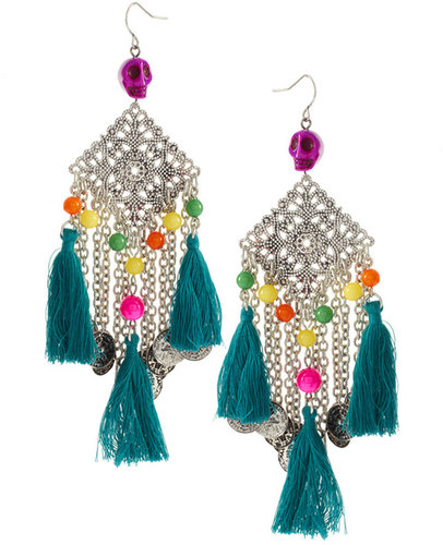 ASOS Skull And Fabric Tassel Chandelier Earrings