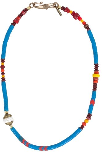 Vanessa Mooney Vintage African Glass Bead Necklace with Inlays in Blue