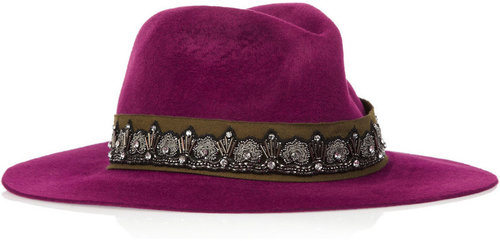 Etro Crystal-embellished rabbit-felt fedora