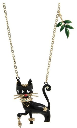Betsey Johnson - Morocco Adventure Long Necklace w/ Cat Pendant (Black) - Jewelry