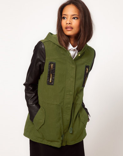ASOS Parka with Contrast PU Sleeves