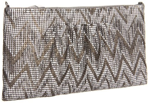 BCBGMAXAZRIA - Chevron Metal Mesh Deco Clutch (Gunmetal) - Bags and Luggage