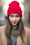 Matching your hat to your makeup, like Chiara Capitani did here, seems to be a hot trend this season. Source: Le 21ème | Adam Katz Sinding