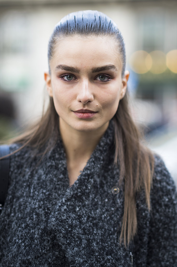 Model Andreea Diaconu pulled off the slicked-back hair with bold brows look flawlessly. Source: Le 21ème | Adam Katz Sinding