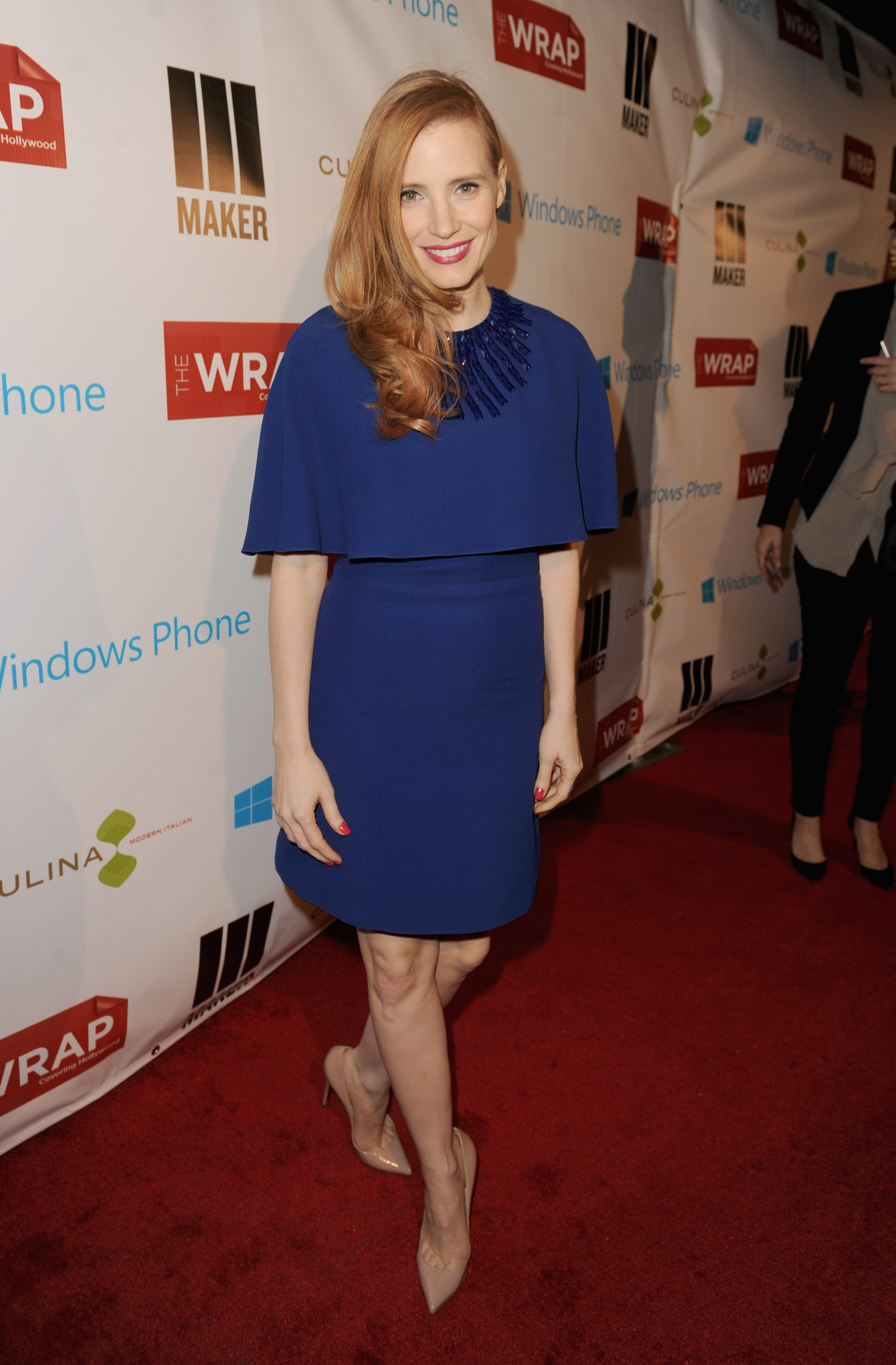 Jessica Chastain looked lovely in a blue dress at TheWrap's party in LA on Wednesday.