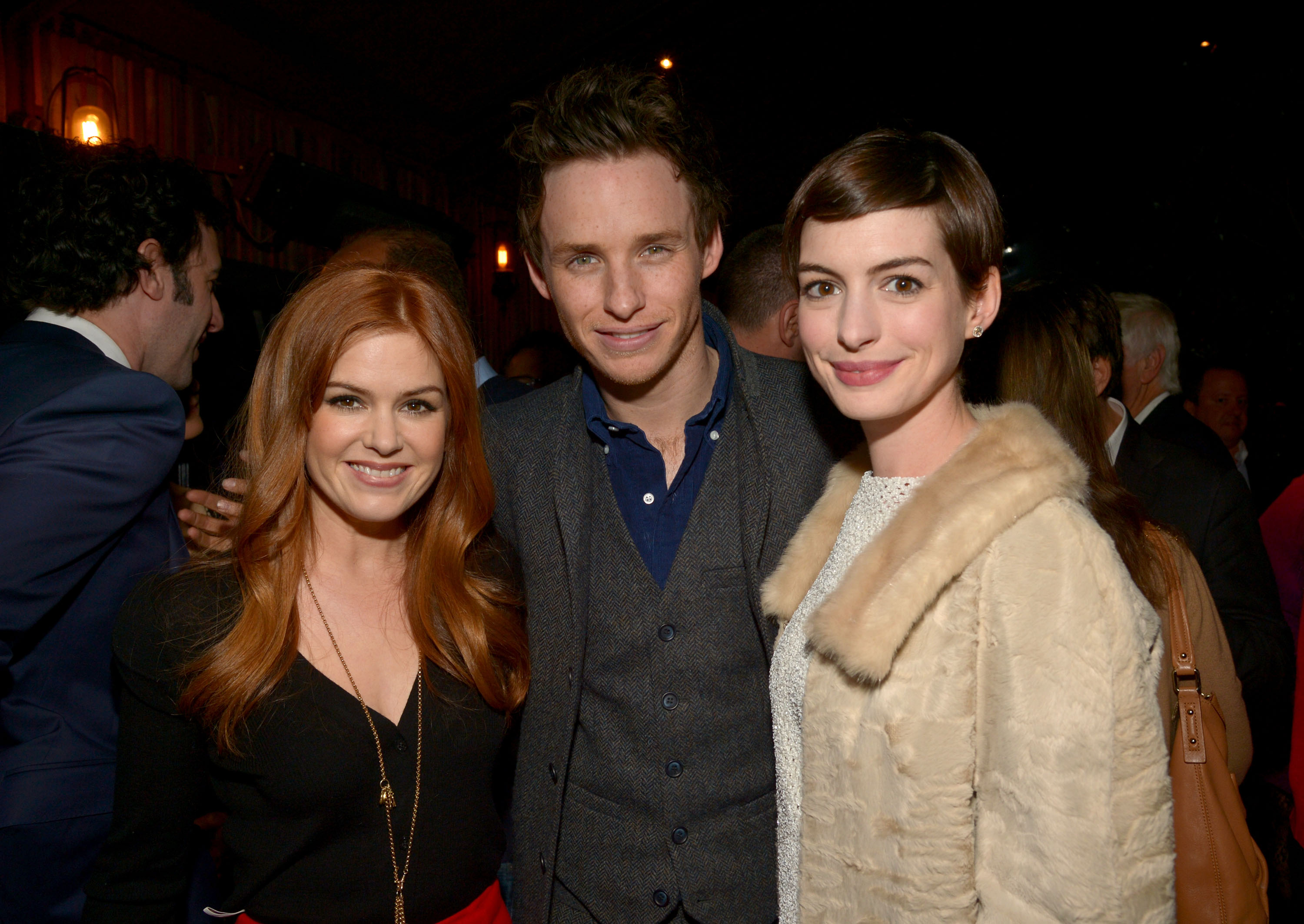 Anne Hathaway, Isla Fisher, and Eddie Redmayne hung out at a Les Misérables pre-Oscars party i