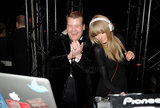 Taylor Swift took over the DJ booth with James Corden during a Brit Awards afterparty.