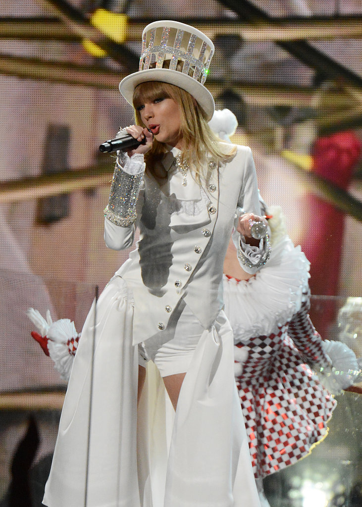 "Taylor Swift performed an Alice in Wonderland-themed rendition of her ""We Are Never Ever Getting Back Together"" at the Grammy Awards."