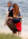 Rihanna and Chris Brown hit the beach together in Hawaii.