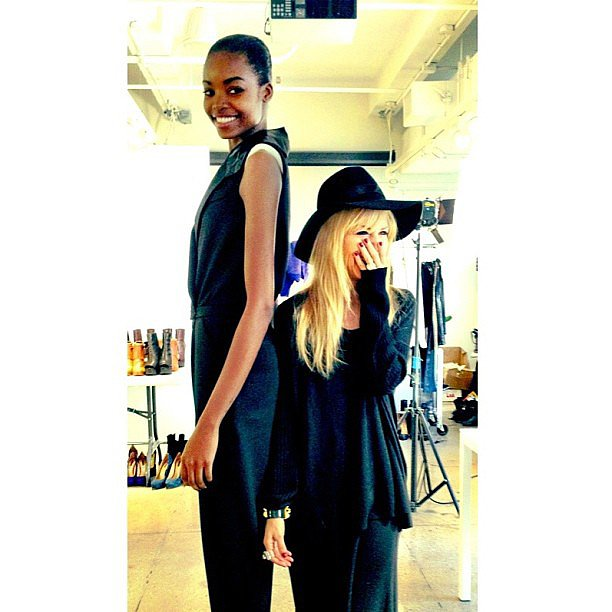 """Rachel Zoe felt """"vertically challenged"""" while standing back-to-back with one of her Fall '13 models. Source: Instagram user rachelzoe"""