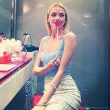 Jaime King looked sweet in a blue bustier top during a Rembrandt event. Source: Instagram user popsugarfashion