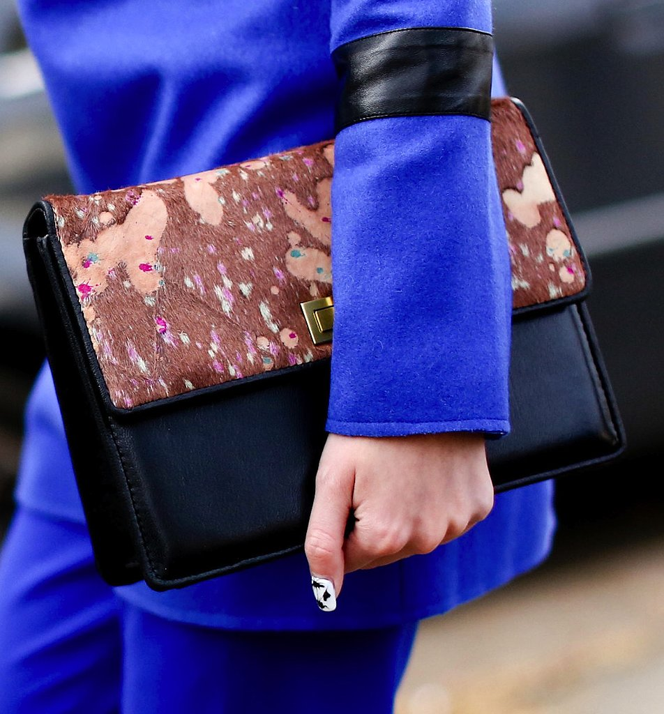 Bold cobalt separates provided the perfect backdrop to this gorgeous textural leather clutch.