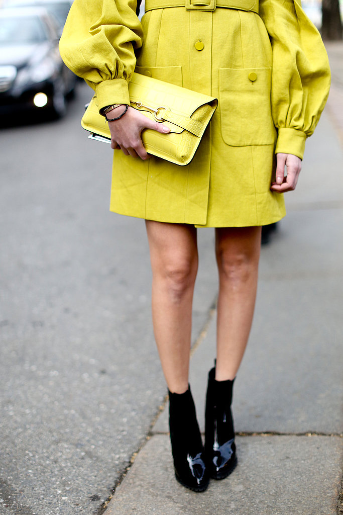 A citron clutch and patent ankle boots completed this sunny ensemble.