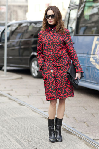 A leopard-print coat had just the right amount of print to dress up this attendee's black accoutrements. Source: Le 21ème | Adam Katz Sinding