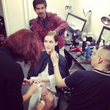 Hilary Rhoda sat through hair and makeup before hitting the runway at Calvin Klein. Source: Twitter user HilaryHRhoda
