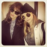 Alexa Chung and Cara Delevingne showed off their oversize sunglasses. Source: Twitter user Caradelevingne
