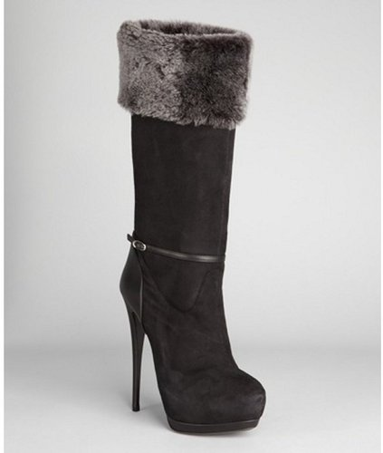 Giuseppe Zanotti black leather with faux fur lining stiletto heel boots