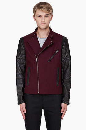 YIGAL AZROUEL Burgundy Leather Trim Varsity Jacket