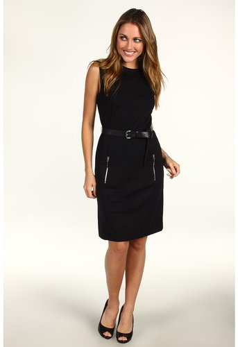 MICHAEL Michael Kors - Solid Ponte Sleeveless Zip Dress (Black) - Apparel