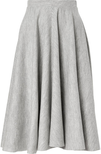 Jil Sander Heather Grey Stretch Wool Mid-Length Skirt