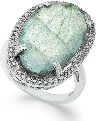 Macy's Sterling Silver Ring, Labradorite (11-1/2 ct. t.w.) and Diamond (1/4 ct. t.w.) Ring