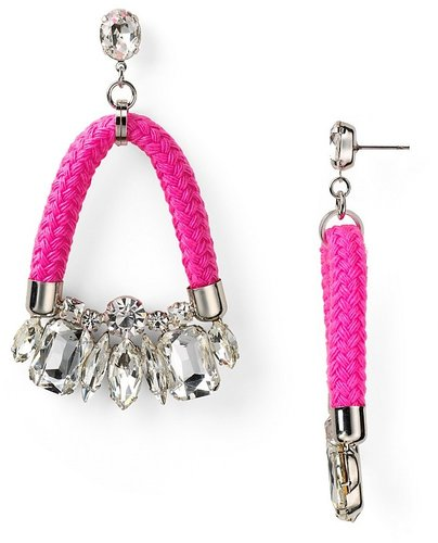 nOir Rhodium Neon Jaipur Crystal Earrings