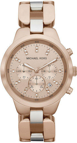 Michael Kors Watch, Women's Chronograph Showstopper Rose Gold Tone Stainless Steel Bracelet 43mm MK5608