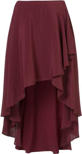 Oxblood Wrap Front Calf Skirt