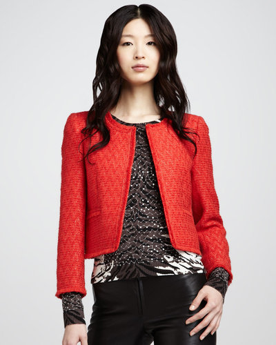 Alice + Olivia Estelle Boxy Tweed Jacket