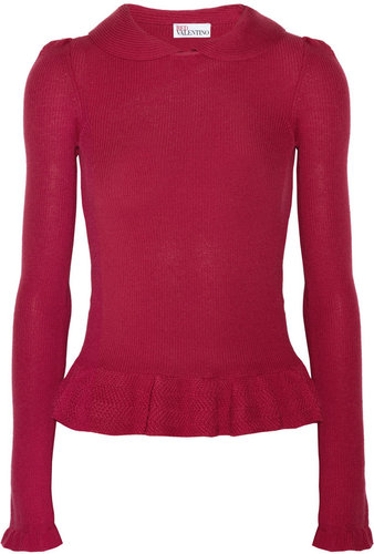 RED Valentino Ribbed-knit wool top