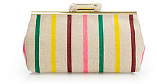 Candy-stripe jute clutch