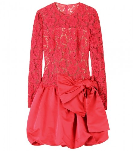 Valentino CHANTILLY LACE DRESS WITH SATIN SKIRT