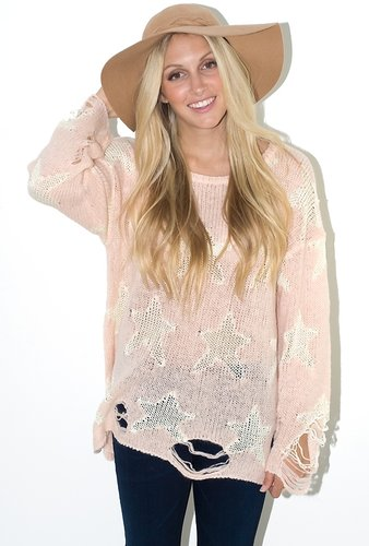 Wildfox Seeing Stars Lennon Sweater in Pink Peony