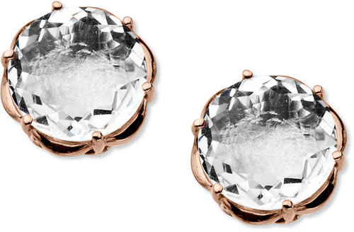 Town & Country Sterling Silver and 14k Rose Gold Earrings, White Quartz Round Stud Earrings (3-1/5 ct. t.w.)