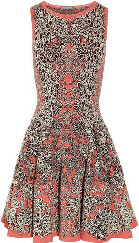 Alexander McQueen Flared barnacle-intarsia dress