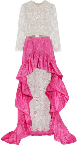 Alessandra Rich Lace gown and silk-blend taffeta skirt