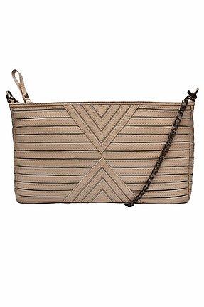 House of Harlow 1960 Riley Oversized Clutch in Nude Patent Leather