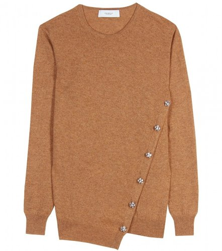 Pringle of Scotland CASHMERE PULLOVER WITH CRYSTAL-BEAD EMBELLISHED BUTTONS