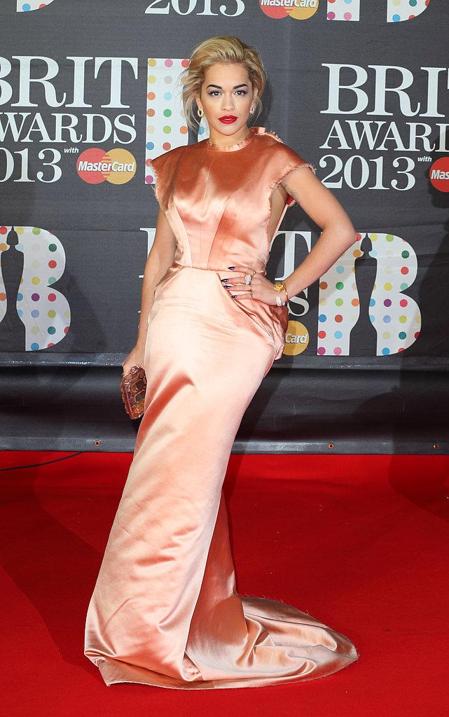 Rita Ora wore Spring 2013 Ulyana Sergeenko couture at the Brit Awards in London.