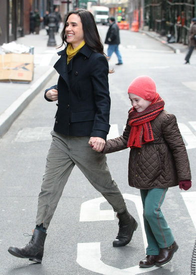 Jennifer Connelly held hands with a young actress on the set of Winter's Tale in NYC on Wednesday.